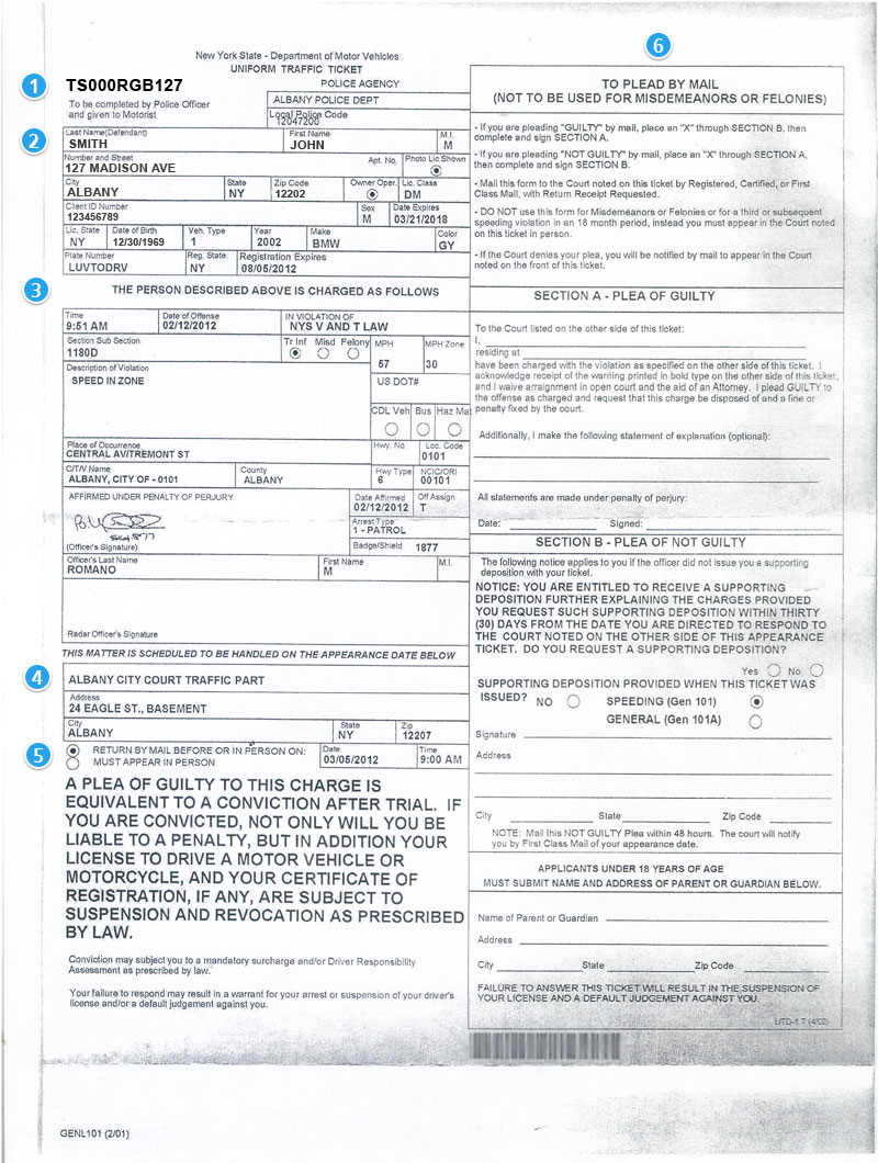 Traffic Ticket Nyc >> New York Traffic Ticket Computer Print Out Version