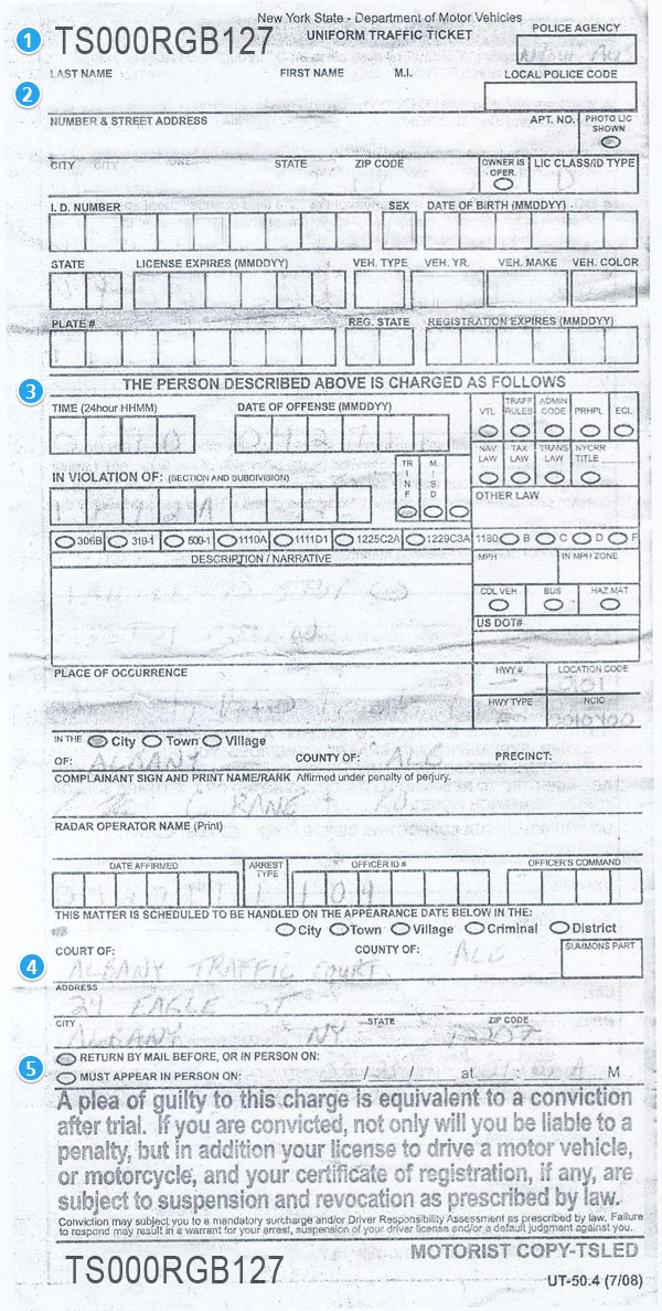 new york traffic ticket handwritten version. Black Bedroom Furniture Sets. Home Design Ideas